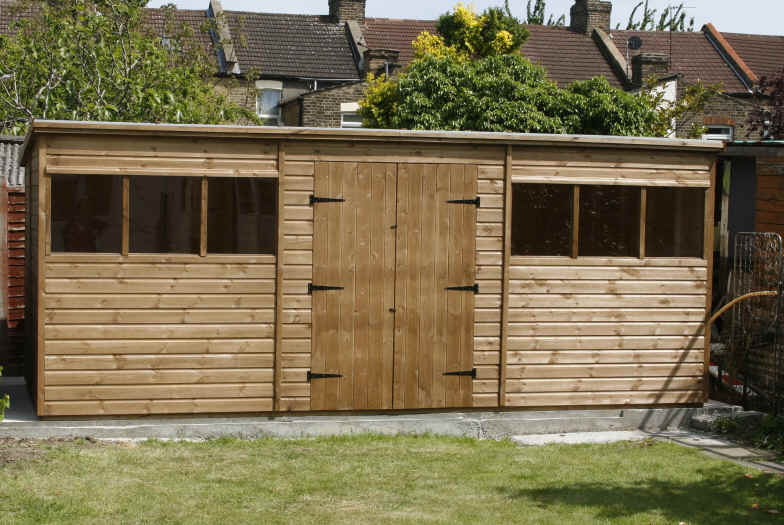Bespoke 18 x 8 pent garden shed with double doors by sheds unlimited