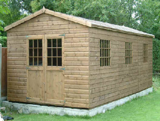 24 x 10 apex garden shed with georgian windows and doors - Garden Sheds With Windows