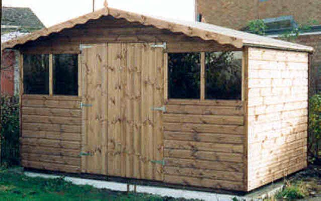 12x8 chalet syle shed with double doors by sheds unlimited for Double door shed plans